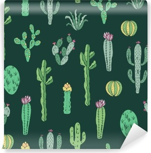 Papier peint vinyle Cactus seamless pattern. Vecteur de fond de cactus et plantes succulentes