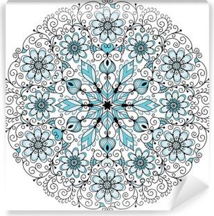 Papier Peint Vinyle Cadre rond millésime dentelle florale