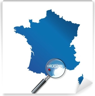 Papier peint vinyle Carcassonne: Localisation sur carte de France - Aude