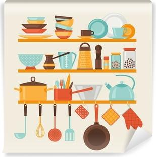 Papier peint vinyle Carte avec des étagères de cuisine et ustensiles de cuisine dans le style rétro.