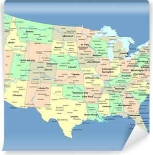 Papier peint vinyle Carte des Etats Unis avec des noms de pays et les villes