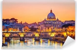 Papier peint vinyle Cathédrale Saint-Pierre dans la nuit, Rome