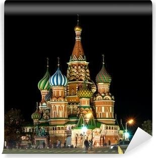 Papier peint vinyle Cathédrale St-Basile dans la nuit. Moscou, Russie