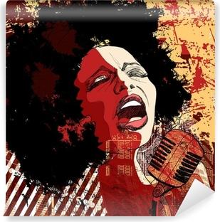 Papier peint vinyle Chanteuse de jazz sur le fond grunge
