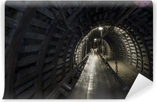 Papier peint vinyle Charbon machines de la mine: convoyeur à bande dans le tunnel souterrain