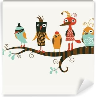 Papier peint vinyle Cinq oiseaux drôles