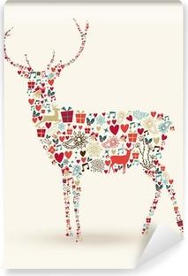 Papier peint vinyle Composition de renne de Noël