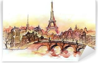 Papier peint vinyle Coucher de soleil à Paris.
