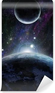 Papier peint vinyle Coucher de soleil avec deux planète bleue