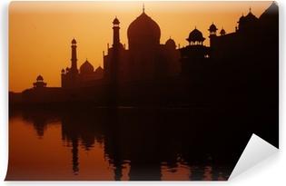 Papier Peint Vinyle Coucher de soleil Silhouette d'un Grand Taj Mahal