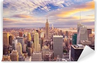 Papier Peint Vinyle Coucher de soleil sur le centre de Manhattan