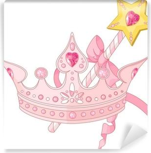 Papier peint vinyle Couronne de princesse et baguette magique