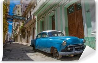 Papier peint vinyle Cuba voiture bleue