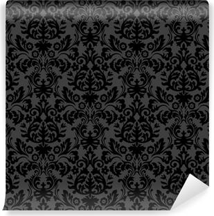 Papier peint vinyle Damassé noire motif floral vintage