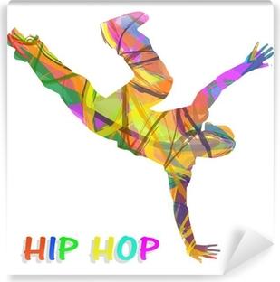Papier peint vinyle Danseur composée de couleurs qui dansent le hip-hop