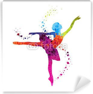 Papier Peint Vinyle Danseuse Classique Pois Coloré