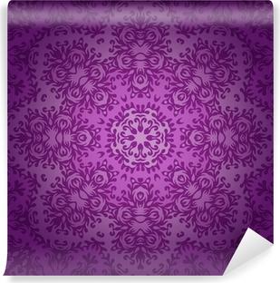Papier peint vinyle Dentelle cercle ornement oriental, modèle napperon ornement sur la violette