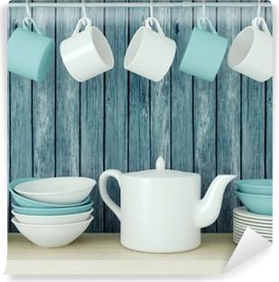 Papier peint vinyle Des ustensiles de cuisine en céramique sur le plateau.