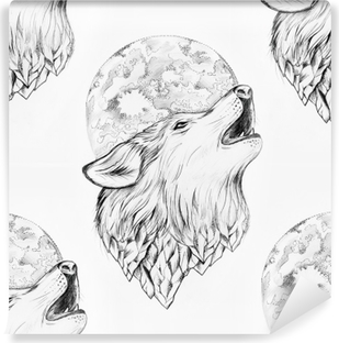 Poster Dessin Sans Soudure D Un Loup Hurlant A La Lune Sur Un Fond