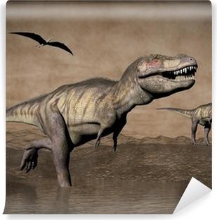 Papier Peint Tyrannosaurus Rex Dinosaure Maman Et Bebe Rendu 3d