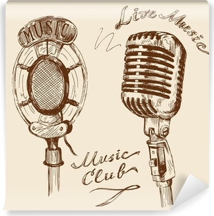 Papier peint vinyle Doodles Vintage microphone