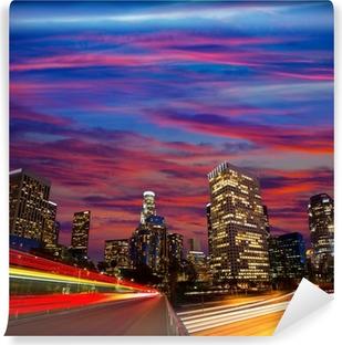 Papier peint vinyle Downtown LA nuit Los Angeles horizon coucher de soleil en Californie
