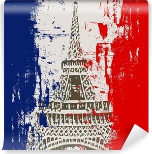 Papier peint vinyle Drapeau français avec la Tour Eiffel Illustration