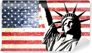Papier peint vinyle Drapeau usa statue de la Liberté