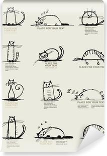 Papier peint vinyle Drôle croquis chats, design avec place pour votre texte