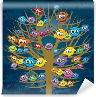 Papier peint vinyle Drôles d'oiseaux et des arbres
