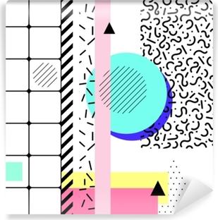 Papier peint vinyle éléments géométriques memphis