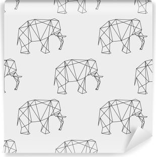 Papier peint vinyle Éléphant sans soudure motif géométrique