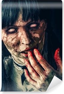Papier peint vinyle Femme zombie effrayant avec les yeux sanglants