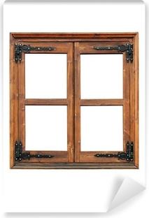 Papier peint vinyle Fenêtre à battants en bois avec sangle décorative charnières isolé