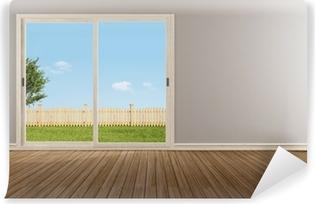 Tableau sur toile Fenêtre coulissante fermée dans une chambre vide ...