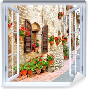Papier peint vinyle Fenêtre ouverte blanche - colline italienne