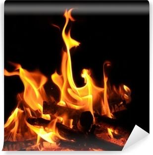 Papier peint vinyle Feu de camp, feu de cheminée, les flammes, les braises