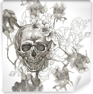 Papier peint vinyle Fond abstrait avec le crâne, Ailes et fleurs