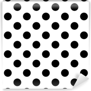 Papier Peint Vinyle Fond Blanc Avec Des Pois Noirs