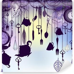 Papier peint vinyle Fond de cru avec des tasses de thé et des horloges au crépuscule