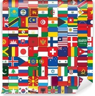 Papier peint vinyle Fond fait de drapeaux icônes du monde