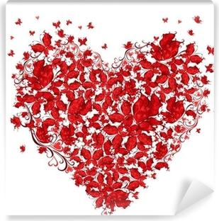 Tableau sur toile Forme d'amour floral. Coeur de papillons. • Pixers® -  Nous vivons pour changer