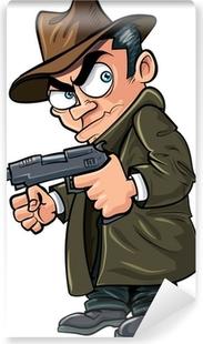 Papier peint vinyle Gangster bande dessinée avec un pistolet et un chapeau