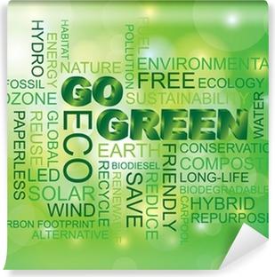 Papier peint vinyle Go Green Word Cloud fond vert