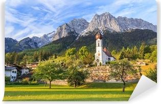 Papier peint vinyle Grainau village et Zugspitze dessus de l'Allemagne