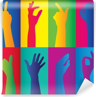 Papier peint vinyle Grappes colorées de mains
