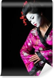Papier peint vinyle Gros plan portrait de geisha isolé sur noir