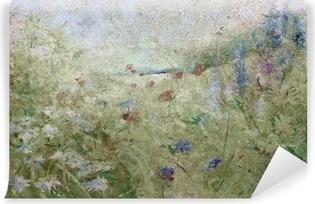 Papier peint vinyle Grunge floral prairie d'été