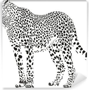 Papier peint vinyle Guépard - illustration vectorielle en noir et blanc