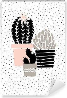 Papier peint vinyle Hand Drawn Cactus Affiche